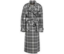 Double-breasted Checked Coated Wool Trench Coat Black Size 14