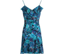 Ruffled Floral-print Silk-blend Crepe Mini Dress Teal