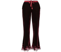 Lace-trimmed velvet pajama pants