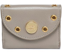 Embellished textured-leather coin purse