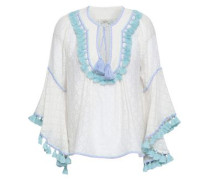 Tasseled Fil Coupé Cotton And Silk-blend Blouse White