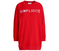 Embroidered French Cotton-terry Sweatshirt Red
