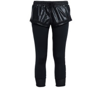 Layered Shell And Stretch-jersey Leggings Black