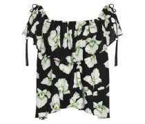 Kahlia off-the-shoulder ruffled floral-print silk top