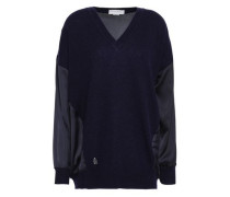 Satin-paneled Cashmere And Wool-bend Sweater Navy