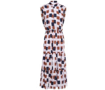Gathered Cutout Printed Crepe Midi Dress Lilac Size 0