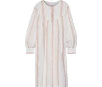 Woman Julia Metallic Striped Cotton-gauze Dress Cream