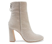Corella Metallic Stretch-knit Ankle Boots Platinum