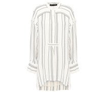 Woman Distressed Striped Crepe Tunic White