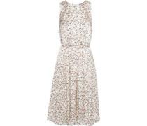 Tie-back Pleated Floral-print Silk-charmeuse Dress Ecru