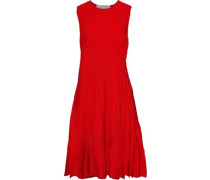 Woman Pleated Stretch-knit Dress Red