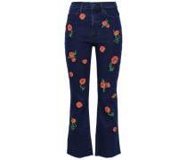 Cropped Embroidered High-rise Bootcut Jeans Dark Denim  6