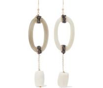 Martini bead, resin and gold-tone earrings