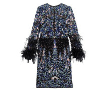 Feather-trimmed embroidered silk-blend mesh mini dress