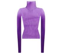 Woman Plissé Knitted Turtleneck Top Purple