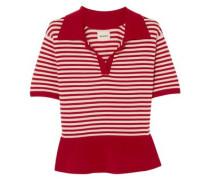 Wool-blend Peplum Top Crimson
