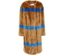 Woman Idette Simple Striped Faux Fur Coat Camel