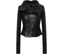 Pebbled-leather Biker Jacket Black