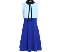 Pussy-bow layered color-block crepe dress