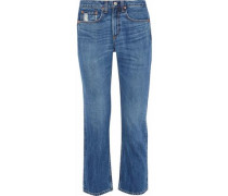 Cropped Faded Mid-rise Bootcut Jeans Mid Denim  7