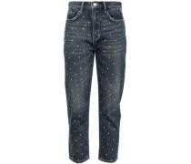The Vintage Cropped Studded High-rise Slim-leg Jeans Dark Denim  3