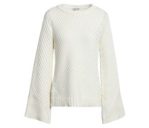 Cutout Ribbed Cotton Sweater Ivory