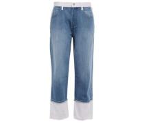 Wynne Cropped Two-tone High-rise Straight-leg Jeans Mid Denim  3