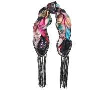 Fringed printed silk-twill scarf