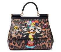 Sicily Appliquéd Leopard-print Textured-leather Shoulder Bag Animal Print Size --