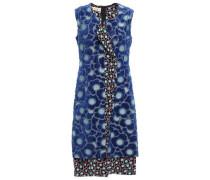 Woman Chenille-paneled Floral-print Silk-blend Jacquard Dress Cobalt Blue