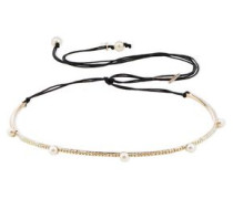 Woman Gold-tone, Crystal, Faux Pearl And Cord Choker Gold