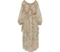 Woman Tempest Pussy-bow Floral-print Silk-georgette Midi Dress Peach