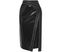 Studded Snake-effect Leather Midi Wrap Skirt Black