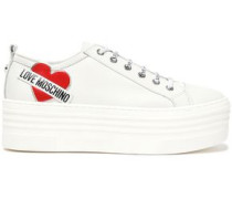 Appliquéd Leather Sneakers Off-white