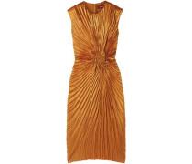 Woman Nicole Pleated Satin Midi Dress Bright Orange