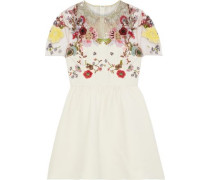 Woman Embellished Tulle-paneled Wool And Silk-blend Cady Mini Dress Cream