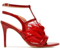 Tasha Feather-embellished Patent-leather Sandals Claret