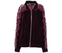 Lace-paneled Velvet Track Jacket Plum