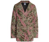 Double-breasted metallic-knit blazer