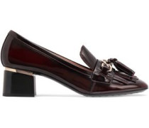 Fringe And Tassel-trimmed Glossed-leather Pumps Merlot