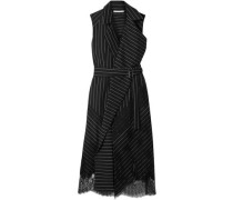 Woman Belted Chantilly Lace-trimmed Pinstriped Stretch-wool Wrap Dress Black