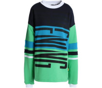 Printed striped French cotton-terry sweatshirt