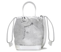 Metallic embellished bucket bag