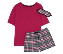 Checked cotton-blend pajama set
