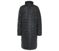 Woman Printed Quilted Shell Coat Black