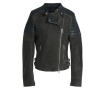 Leather-paneled Suede Biker Jacket Anthracite