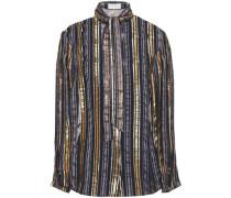 Tie-neck Metallic Striped Silk-blend Chiffon Blouse Gold