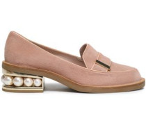Faux Pearl-embellished Calf Hair Loafers Blush