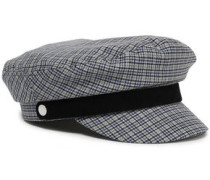 Suede-trimmed Checked Wool-blend Cap Gray  /L