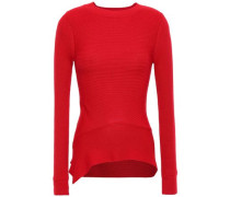 Woman Wrap-effect Ribbed Wool And Cotton-blend Sweater Red